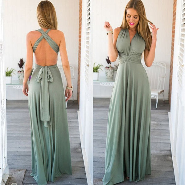 Women's Transformer Convertible Boho Wrap Multi Way Party Long Maxi Dress 2020 Bandage Bridesmaids Infinity Gown Dress