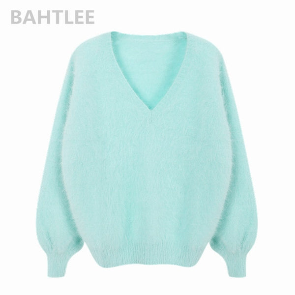 Winter women's angora rabbit Jumper sweater V-neck lantern sleeve mink cashmere knitted pullovers keep warm thick loose