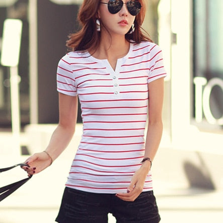 Vogue T Shirt 5XL Women 2020 Summer Top Shirts V-neck Casual tshirt White Striped T-Shirt Plus Size Cotton Tee Femme Clothes #98