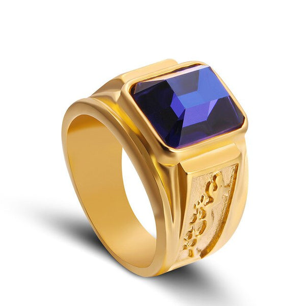Gothic Gold Tone Men's Signet Ring With Black/Blue Crystal Classic Big Stone Engraved Dragon Male Rings Good Luck Jewellery