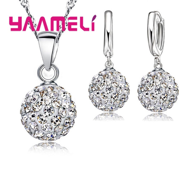Shiny Latest Jewelry Set 925 Sterling Silver Austrian Crystal Pave Disco Ball Lever Back Earring Pendant Necklace Women