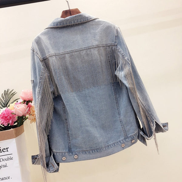 New Denim Jacket Tassels Sequins Women's Jeans Korean Loose Jeans Jacket Shimmer Beading Coat Casual Girls Outerwear veste femme