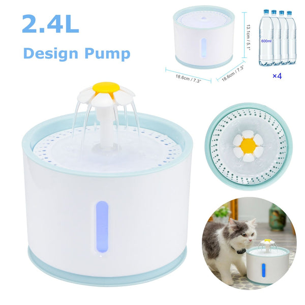 Automatic Pet Cat Water Fountain LED Electric USB Dog Cat Pet Mute Drinker Feeder Bowl 2.4L Pet Drinking Fountain Dispenser