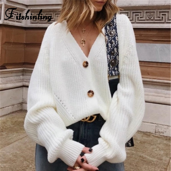 Fitshinling Buttons Up Sweater Cardigan Women Knitwear V Neck Women's Clothing Winter 2020 Cardigan Korean Style Cardigans Sale