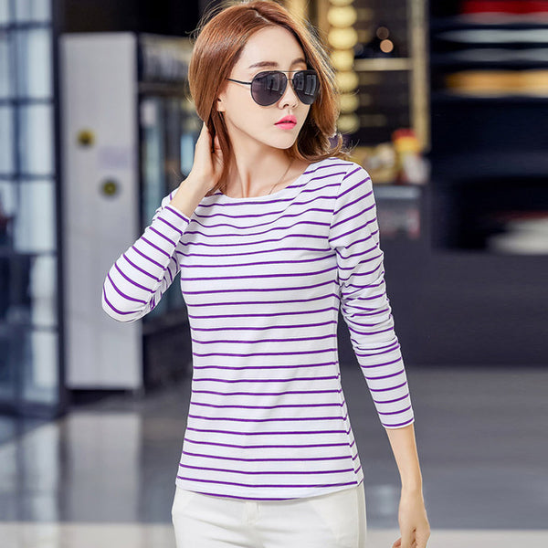 Soperwillton Cotton T-shirt Women 2020 New Autumn Long Sleeve O-Neck Striped Female T-Shirt White Casual Basic Classic Tops #620