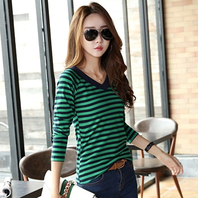 Soperwillton T-Shirt Women 2020 Shirts Long Sleeve Autumn Casual Shirt Striped Female T Shirts Women's Cotton Camisa Feminina