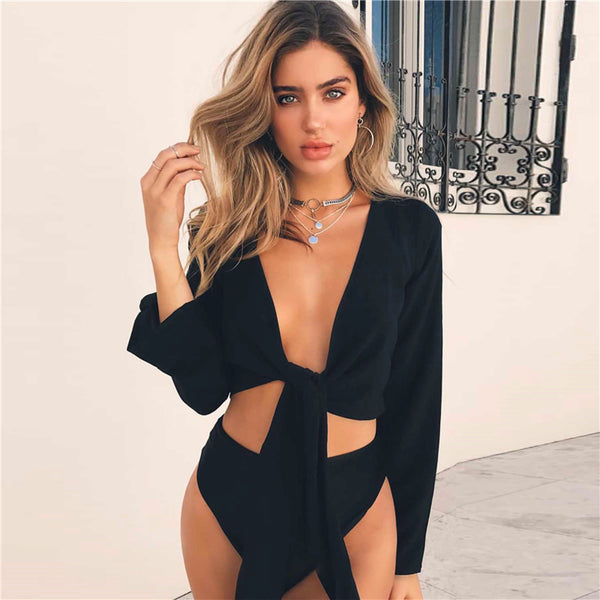 Newest arrival Women's Summer Tie Knot Crop Top Ladies Flared Sleeve Plunge Neck Tops