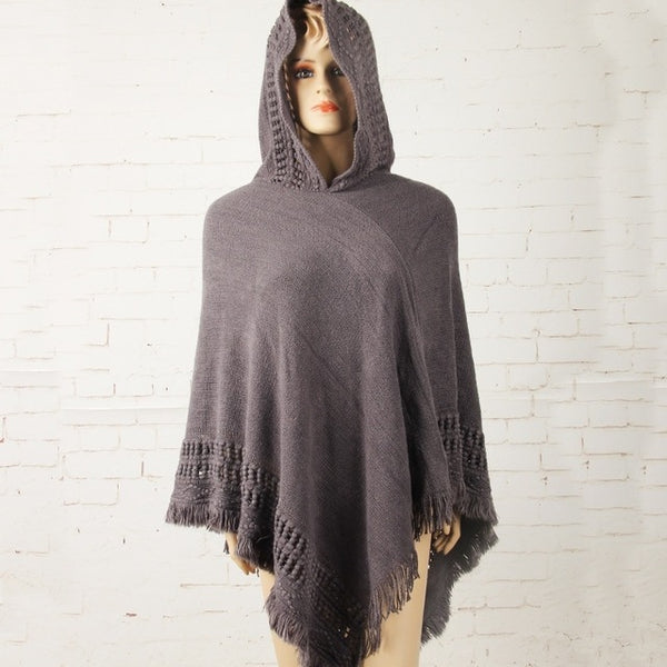 Women's Hooded Poncho Batwing Knit Shawl Cloak Coat Knitwear Cape free size