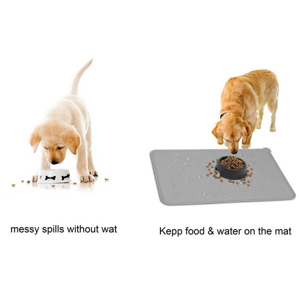 Solid Color Silicone Pet Food Pad Waterproof Pet Mat for Dog Cat Pet Bowl Drinking Mat Dog Feeding Placemat Easy Washing
