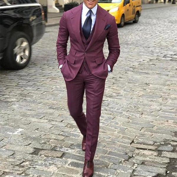 Burgundy Red One Button Men's Slim Fit Suits Notched Lapel Business Men Wedding Tuxedo Suits Custom Made Costume Homme Suits