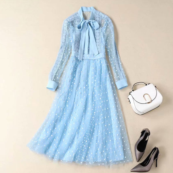Kate Middleton Long Dress High Quality New Women'S Fashion Work Party Vintage Elegant Chic Embroidery Long Sleeve Dresses