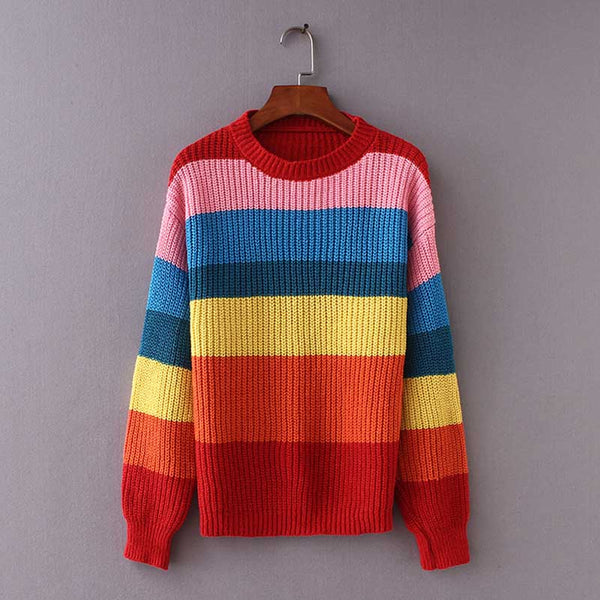Women's Sweater Rainbow Color Block Striped Autumn Sweaters and Pullovers Jumper Long Sleeve Knitwear Loose Knitted