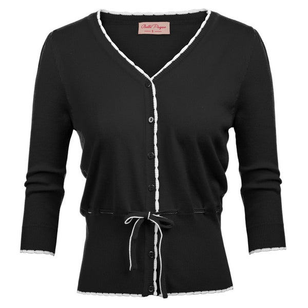 Belle Poque Fashion Women's Cardigan Vintage 3/4 Sleeve V-Neck Tie Waist Black/Red Cardigan Knitwear Tops Sweater Knitted Coat