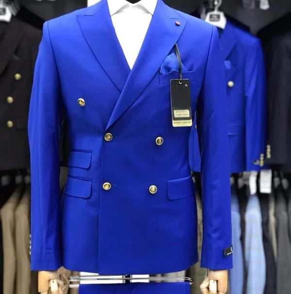 New Men's Royal Blue Slim Fit 2 Pieces Fashion Suit Double Breated Tuxedos Wedding Suit Blazer (Jacket+Trousers)