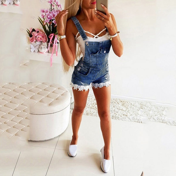 Summer fashion denim bib women's denim overall casual shorts summer lace embroidered decorative strap jeans