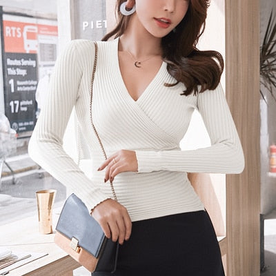 Deep V Neck Sweater Women's Pullover Slim Sweaters Female Elastic Long Sleeve Tops Femme (N0021)