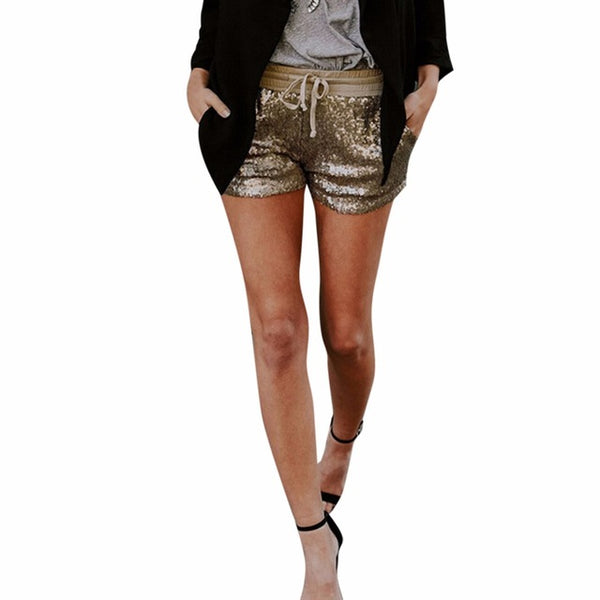 Glittering Women's Ladies Girls Sequined Night Elastic Lace Up Straight Skinny Gold Bottoming Shorts Party Short Trouser #O