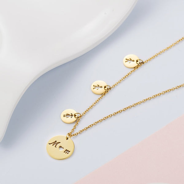 Women's Stainless Steel Necklace MOM Daughter Son Necklace Women Love Boys Girls Gold Necklace Silver Necklaces Mom Jewelry Mama