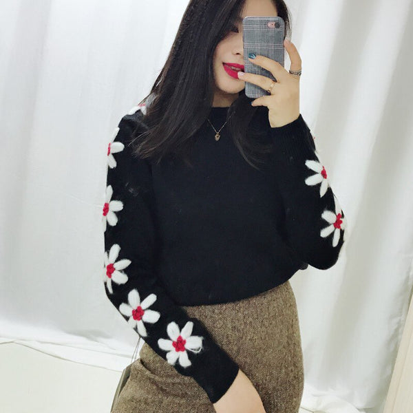 Retro Daisy Floral Embroidery Knitwear Tops Loose Long Sleeve Solid Knitted Pullovers Sweater Winter Women's Sweaters Top  C-386