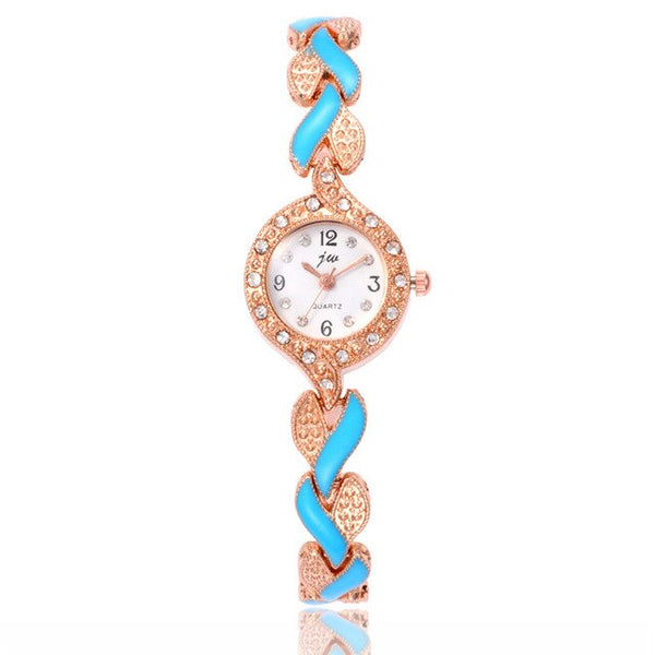 Women Gold Single Chain Stainless Steel Band Women's Rhinestone Luxury Quartz Bracelet Watch Analog Wrist Watches X50