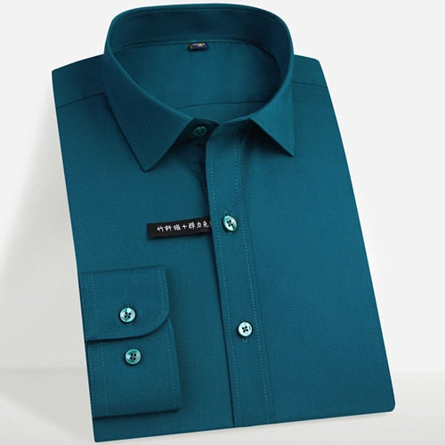 Men's Easy Care Solid Bamboo Fiber Dress Shirts Comfortable Soft Long Sleeve Elastic Non Iron Male Regular-fit Formal Tops Shirt