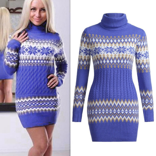 Stylish Bar Women's Turtleneck Sweater 2020 Winter Jumper Snowflake Printed Hit Color Pullover Knitting Thick Christmas Sweaters