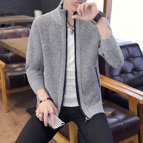 Brand clothing Autumn Winter Men's knit Sweater Jackets Men Zipper Knitted Thick Coat Casual Knitwear Plus size S-3XL