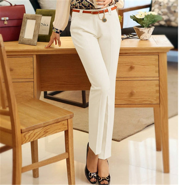 Casual Plus size 4XL Straight Pencil Pants women 2020 NEW Formal Office Work trousers Mom's Fashion slim waist pants female