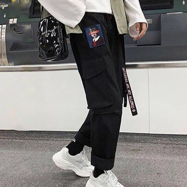 Hip Hop Harajuku Women's Cargo Pants Plus Size Patchwork Lace-up Straight Sweatpants Female 2020 Streetwear Sports Trousers