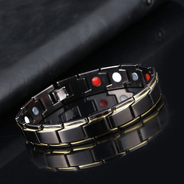 Fashion Magnetic Hematite Copper Bracelet Men's Health Bracelets with Hook Buckle Clasp Therapy Bangles Man Health Care Jewelry