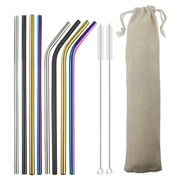 Reusable Drinking Straw 18/10 Stainless Steel Straw Set High Quality Metal Colorful Straw With Cleaner Brush Bar Party Accessory