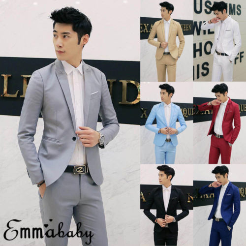 Stylish Men's Casual Slim Fit Formal One Button Suit Blazer Coat Jacket Tops New Plus Size