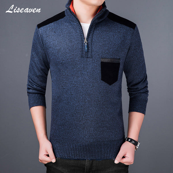 Men 2020 Thick Fleece Sweater Turtleneck Winter Mens Pullovers Slim Fit Jumpers Knitwear Pull Homme Sweaters