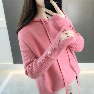 Casual Hooded Sweater 2019 New Autumn Winter Korean Style Women Loose Solid Button Knitwear Female Pullover Sweater Sueter