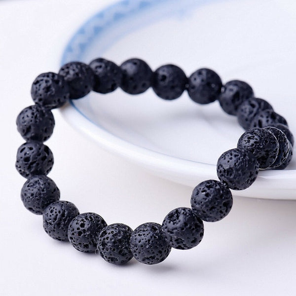 Beaded Bracelet 8mm Natural Stone Beads Men's Gorgeous Semi-Precious Black Onyx Lava Tiger Eye Healing For Women Men Jewelry