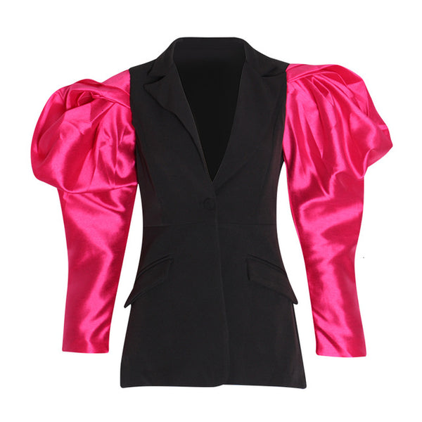 TWOTWINSTYLE Patchwork Hit Color Women's Notched Blazer Puff Long Sleeve High Waist Female For Blazers 2020 Fashion Clothing New