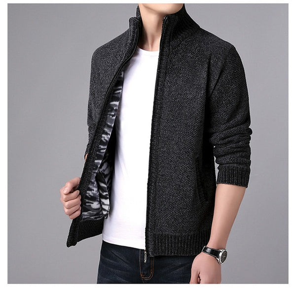 New Men's Sweaters Male Autumn Winter Thick SweaterCoat Zipper Knitted Sweater Jackets Men Cashmere Knitwear Coat M-3XL