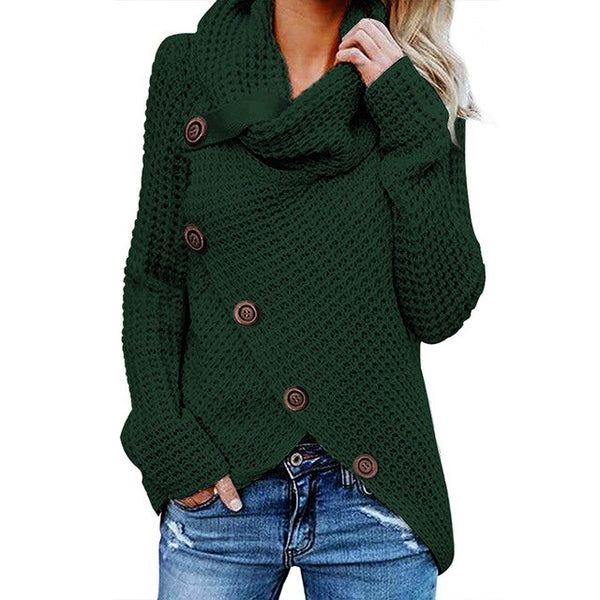Autumn and winter solid color thick sweater women new single row diagonal buckle long sleeve asymmetric sweater women's clothing