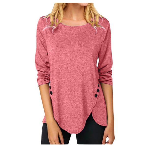 Fashion Women's Causal Solid Color Shirts Round Neck Button Stitching  Blouses Winter 2020 Dropshipping free shipping fashion W