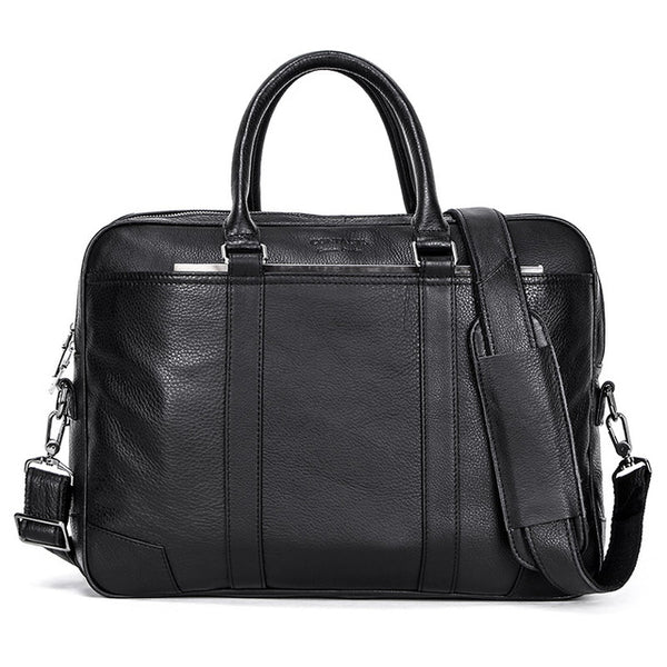 CONTACT'S Business Man Bag Vegetable Cow Leather Briefcase Bags For Men Laptop Shoulder Bag Quality Male Handbags Portafolio