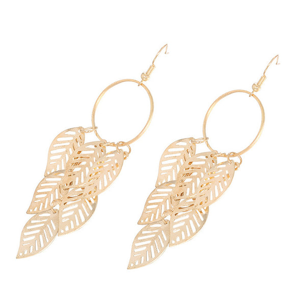 New Bohemia Vintage Hollow Leaves Drop Earrings Women's Jewelry Big Brand Exaggerated Female Dangle Brincos Bijoux Gift