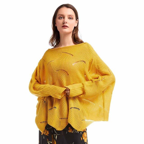 Bikitique Solid Color Bat Sleeve Women's Pullover One Neckline Hollow Knitted Elastic Casual Sweater Women New Winter Sweater