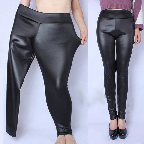 Plus Size XL-5XL High Waist Pencil Pant Women Faux Leather PU Long Trousers Casual Sexy Skinny Elastic Stretch Pencil Pants
