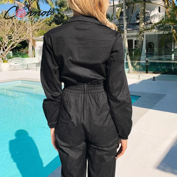 Conmoto high fashion black jumpsuits women summer 2020 zippers jumpsuit rompers beach cool casual ladies long romper