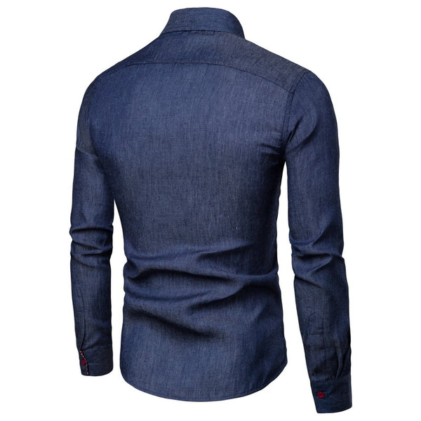 New Arrival Men's Shirts Solid Slim Fit Long Sleeved High Quality Wash Denim Cowboy Jeans Shirts Men Casual Winter Autumn