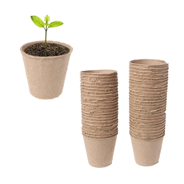 Round Biodegradable Paper Pulp Peat Pots Nursery Cup Tray Garden New Drop Ship Support
