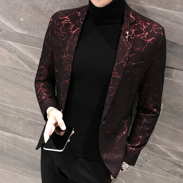Slim bleiser masculino 2020 Spring Casual Fit Floral Suit Mens Flower Blazer Party Dress Outfit Pantalon Trendy blaser masculino