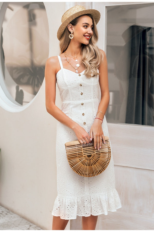 Simplee Elegant white lace women dress spaghetti strap female ruffle cotton dress Summer beach style ladies midi dresses