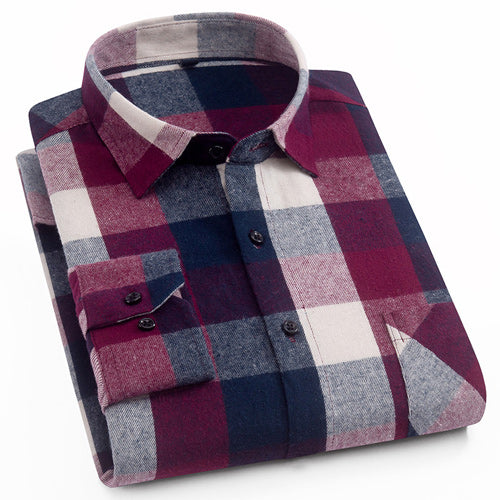 Men's Fashion Brushed Flannel Cotton Shirts Single Patch Pocket Colorful Plaid Checkered Slim-fit Long Sleeve Casual Tops Shirt