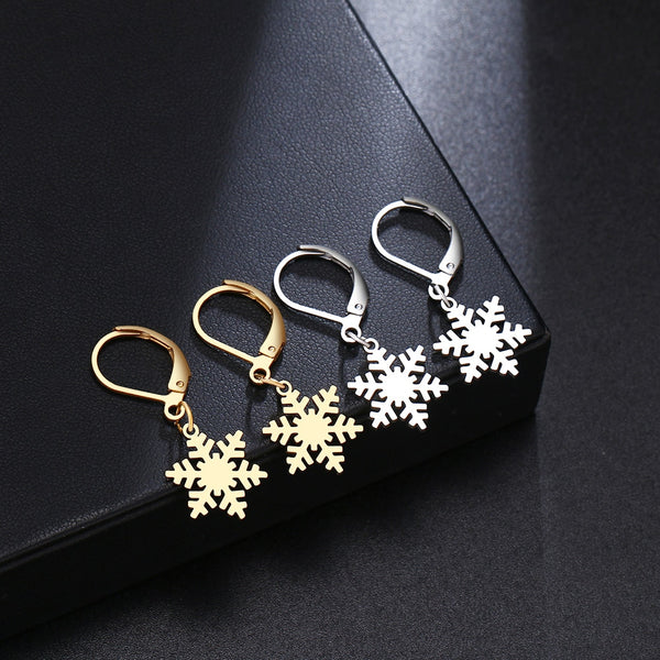 New Fashion For Women Snowflake Earrings Stainless Steel Gold and Silver Women's Engagement Jewelry Earring Gift X21